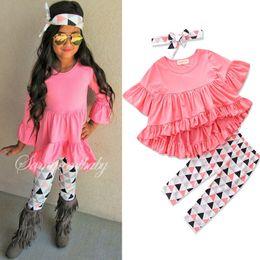ae5e00eb10d9e Sweet Toddler Baby Girl Clothes Ruffles Irregular Mini vestido Tops +  Pantalones largos Leggings + Diadema 3PCS Trajes para niñas Ropa para niños