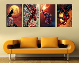 4 PCS AvengersSuperheroes Modern Abstract Canvas Oil Painting Print Wall Art Decor For Living Room Home DecorationUnframed Framed