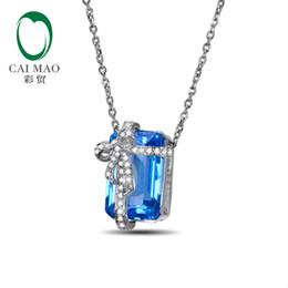 7cac516875a6 Colgante de cadena de compromiso de diamantes de Topacio azul natural de oro  blanco 14k