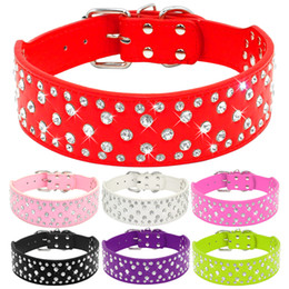 Discount leather bling large dog collar 2 inch Rhinestones Dog Collars Full Sparkly Crystal Diamonds Studded PU Leather Bling Pet Appearance for Medium & Large