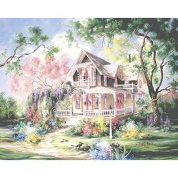 Paintings Homes Australia - No Frame Villa Diy Painting By Numbers Kits Acrylic Picture Landscape Painting Modern Wall Art Picture For Home Decor 40x50cm