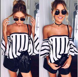 42ebca5c733 2017122526 Elegant Flare Sleeve Stripe Blouse Shirt Women Fashion 2017  Streetwear Tunic Tops Casual Off Shoulder Cool Tube Top Blusa
