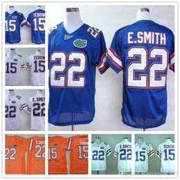 Горячая продажа Mens Youth Florida Gators College Football # 15 Tim Tebow # 22 Emmitt Smith Throwback Royal Blue Orange White NCAA Jerseys