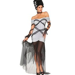 Gothic Woman Costumes UK - Grey Color Sexy Off Shoulder Witches Costume For Halloween Gothic Beauties Fancy Dress with Long Mesh Trim