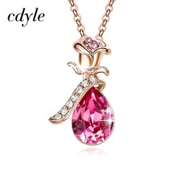 $enCountryForm.capitalKeyWord UK - Cdyle Rose Gold Necklaces Crystals from Swarovski Vintage Women Charm Pendant Zircon Pink Blue Sexy Flower Set Elegant Statement D18111201