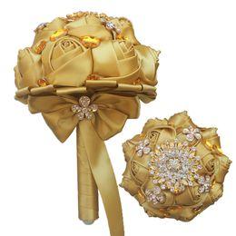 Bridal Brooch Flower UK - 15CM Mini Wedding Bouquet Golden Crystal Brooch Bridal Bouquet Golden Satin Rose Bridesmaid Holding Flowers Bouquet de mariage