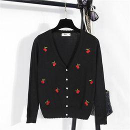 2f5b5880dc Wholesale-2016 New Jacket Shawl Women Sweater Lady Cardigan Slim V-Neck Long -sleeved Knit Cardigan Cherry Embroidered Plus Size
