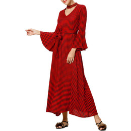 Discount feminine dresses - Women Boho Maxi Dress Plaid Print Long Dresses Feminine long sleeve muslim dress fashion female kaftan