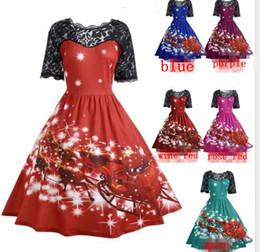 4fb153cb169 women Christmas dress short sleeve Party O-Neck Printed Short Sleeve A-Line Swing  Dress lace Christams Dresses LJJK1104