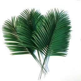 China 10 pcsArtificial palm leaves Green plants Decorative Artificial flowers for decoration DIY Home Decor wedding decoration   54cm long cheap flower for decoration wholesale suppliers