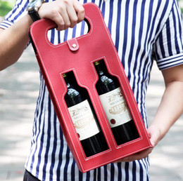 $enCountryForm.capitalKeyWord NZ - 10pcs Luxury Portable PU Leather Double Hollow-out Red Wine Bottle Tote Bag Packaging Case Gift Storage Boxes With Handle free shipping