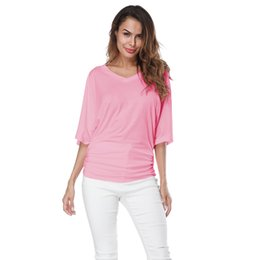 1d954ec2e768a4 4XL 5XL Plus Size Solid Tshirts Female Off Shoulder T-Shirts for Women  Batwing Sleeve Summer Loose Top Tee V-neck Casual T shirt