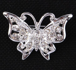 $enCountryForm.capitalKeyWord NZ - Lovely Insect Butterfly Brooches Corsage Scarf Buckle Silver Plated Crystal Rhinestone Brooch Pins For Women Girl Dress Accessory 2.6*3.4cm