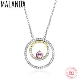 e4b1f299ff14 Cristal de MALANDA de Swarovski doble círculo collar colgante para las  mujeres 925 de plata del color oro collares joyería de moda