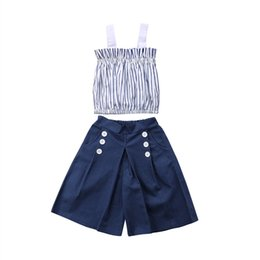 $enCountryForm.capitalKeyWord Australia - Children Casual Kids Baby Girl Clothes Set Summer Sleeveless Vertical Striped Tops Denim Loose Pants Girls Clothing Outfits 1-6T