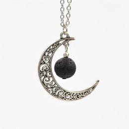 moon shaped gold pendant 2019 - New 12mm Lava-rock Stone Beads Necklace Moon Shaped Pendant Necklace Aromatherapy Essential Oil Diffuser Neck Fashion Je
