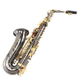 Chinese  Custom Alto Saxophone Carved Flower Black Nickel Gold Eb Sax Saxophone Gold Key Brass instrument manufacturers