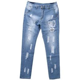 $enCountryForm.capitalKeyWord UK - Fashion Mens Ripped Skinny Jeans Destroyed Frayed Straight Slim Fit Denim Pants Trousers