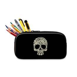 $enCountryForm.capitalKeyWord UK - Skull Pattern Zipper Pencil Case For Student School Office Supplies Cute Small Cosmetic Bags For Women School Stationery Pencilbox Organizer