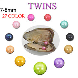 $enCountryForm.capitalKeyWord Australia - 2018 Natural Twins Pearl 7-8MM Round Pearl in Oysters Akoya Oyster Shell with Colouful Pearls Jewelry By Vacuum Packed