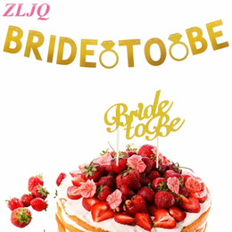 Bachelorette Party Cupcake Toppers Australia - ZLJQ Glitter Gold Bride To Be Party Cupcake Topper BRIDE Party Banner for Bridal Shower Wedding Bachelorette Party Decorations