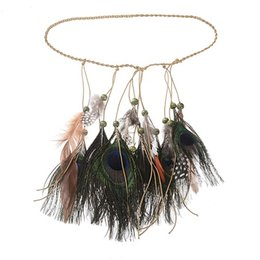 boho headbands NZ - 6PCS Girls Fashion Boho Colorful Feather Headband Festival Hippie Hair Band Accessories for Women Styling Peacock Headdress