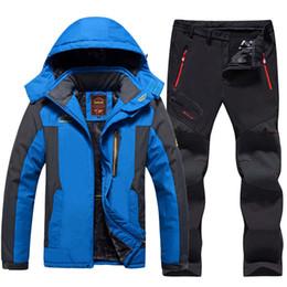 Warm Waterproof Pants Men Australia - Plus Size Men Ski Suit Waterproof Fleece Jackets and Pants Outdoor Snowboard Snow Jacket Thicken Warm Men Skiing Hiking Coat