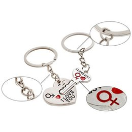love heart cartoon couple NZ - 1Pair Couple I LOVE YOU Letter Keychain Heart Key Ring Silvery Lovers Love Key Chain Souvenirs Valentine's Day gif ln