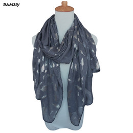 Discount long feather scarf New Designer Scarf Women's Warm Long Scarves Fashion Printed Shawl Shiny Bronzing Silver Feather Wrap Cachecol for Autum
