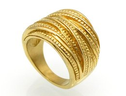 Plates Gift Europe UK - New Personality Jewelry Vintage Rope Gold Plated Ring Europe and America Fashion Titanium Steel Ring Female