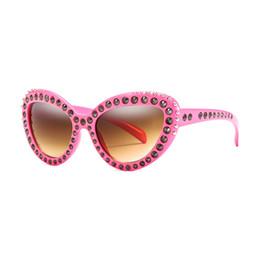 121018bae3 Ladies Pink Cat Eye Sunglasses Women Outdoor Oversized Frame Sun Glasses  Retro Metal Rivet Style Shade Sunglasses UV400 Oculos