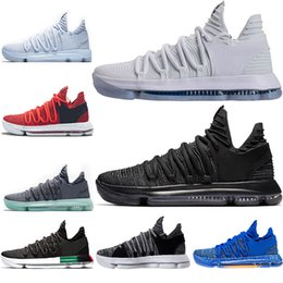 4bd076bfc413 Wholesale 2018 Cheap New shoes 10 Kevin Durant Basketball Shoes Igloo  Numbers BHM Multi-Color Triple black red Triple white Mens sneakers