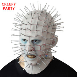 Discount scary movie face mask - Halloween Mask Horror Movie Hellraiser Scary Pinhead Masks Grimace Monster Adult Cosplay Realistic Latex Party Masks
