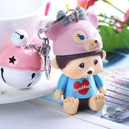 $enCountryForm.capitalKeyWord Australia - Cute Monchichi Bell Keychain Fashion Sleutelhanger Key Chain Valentine's Day Gift Women Handbag Key Holder Accessories