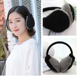 pink earmuffs UK - Winter cute earmuffs unisex knitted wool warm earmuffs removable and washable
