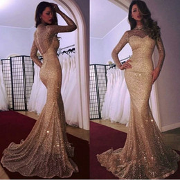HigH collar sequin prom dress online shopping - Full Sequined Long Sleeves Prom Dresses High Neck Mermaid Sparkly Evening Gowns Gold See Through Pageant Dress
