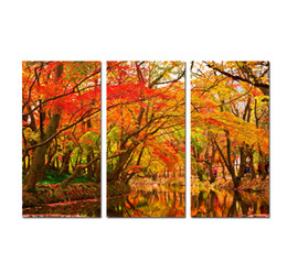 large floral canvas art UK - Large 3 Panel Golden autumn Maple Landscape Painting Canvas Print Wall Art Picture Modern Home Decor For Living Room Decoration SetA16