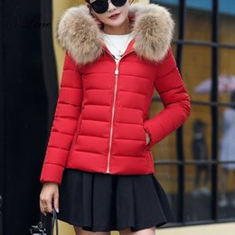 Womens Parkas Australia - SSLine 2017 New Winter Parka Coat womens cotton short Slim cotton Female jacket Parkas With a Hood Large Faux Fur Collar Coat