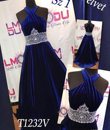 Wholesale A Line Royal Blue Velvet Girl Pageant Dresses for Wedding Party Pageant Dresses Crystal Beaded Communion Prom Gowns Open Back Custom Made