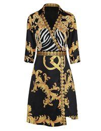 Großhandel Vintage Print Frauen Kleid 3/4 Ärmel Kleider 01K602