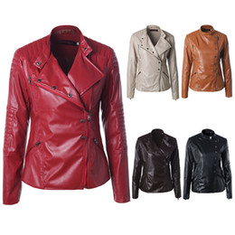 $enCountryForm.capitalKeyWord NZ - Leather jackets for womens new fashion zipper pu designer coat winter lapel motorcycle leather jacket cheap price women coat