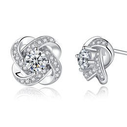 Clover earrings studs online shopping - 925 Silver Clover Stud Earrings Flower Diamond Earrings Silver Jewelry