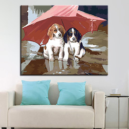 diy framing kits Canada - DIY Oil Painting By Numbers Kits Coloring Handpainted Under Umbrella Dogs Canvas Pictures Wall Art Living Room Decor Gifts Frame