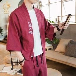 Men 100% Cotton Yukata Kimono Suit Men Japanese Traditional Pajamas Set Summer Japanese Style Bathrobe With Shorts 050401 Fast Color Men's Sleep & Lounge
