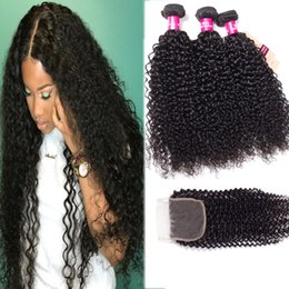 loose kinky curly hair Canada - 8A Brazilian Hair Body Wave Straight Loose Wave Kinky Curly Deep Wave 3 Bundles With 4X4 Lace Closure Unprocessed Virgin Human Hair Wefts