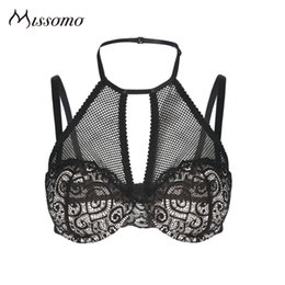 07c3d51c6b55 wholesale Sexy Black Bra Women Halter Mesh Semi Sheer Floral Hollow Out  Bralettes Female Patchwork Breathable Underwears Lady