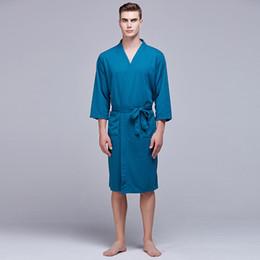 f5f74dc1f1 New Style Solid Robe For Men Summer Kimono Bathrobe Gown Casual Sleepwear  Nightgown Three Quarter Sleeve Nightwear Homewear
