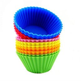 $enCountryForm.capitalKeyWord NZ - 12pcs Silicone Baking Cups   Cupcake Liners Vibrant Muffin Molds in Storage Container (Mixed Color)