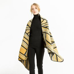 $enCountryForm.capitalKeyWord UK - New Fashion Acrylic Warm Women Winter Poncho Hole Large Cashmere Ponchos and Capes Stole Long Red Striped Ponchos 3463 Wholesale