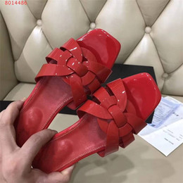 Women Black Flat Booties Canada - Women Luxury Designer Black Red Yellow Patent Leather Sandals flat Studs Retro Shoes Genuine Leather Brand Summer Slides Slipper casual shoe